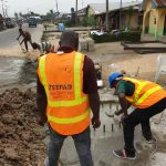 Zeepad construction team constructing a billboard in lagos nigeria