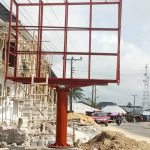 Zeepad construction team constructing a billboard in lagos nigeria 1